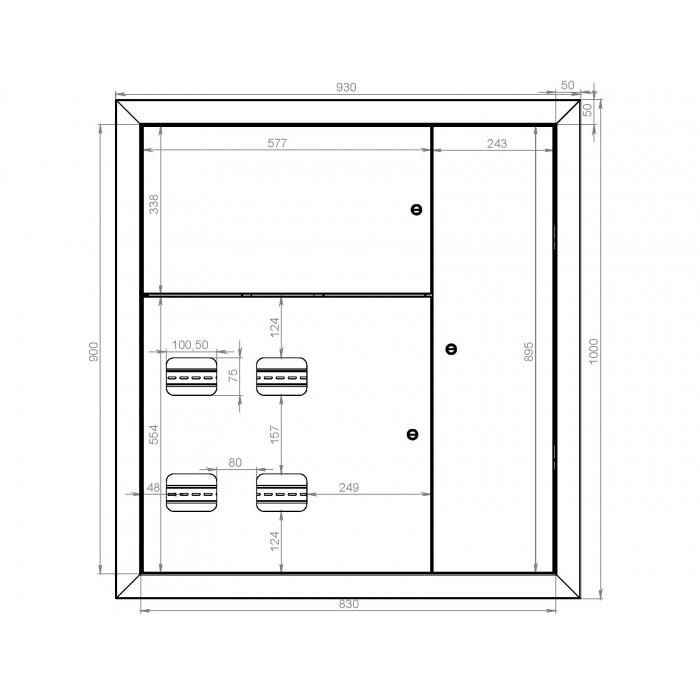 Щит этажный на 4 квартиры ЩЭ-4 размер 1000х930х135мм STANDART