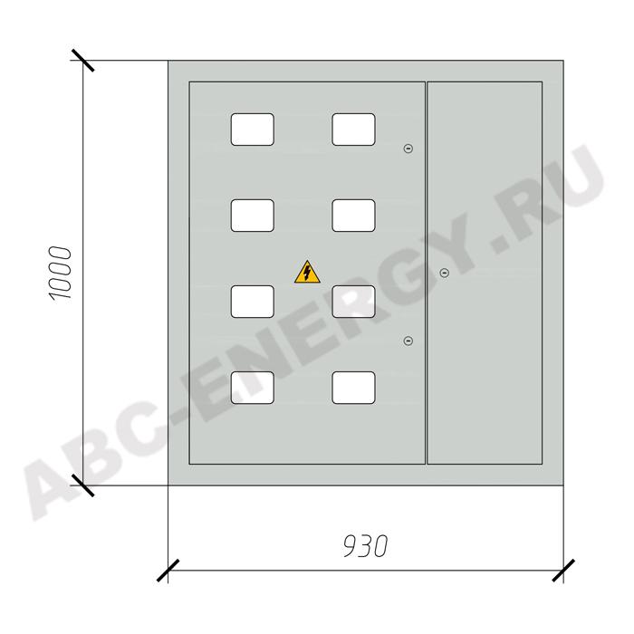 Щит этажный ЩЭ-8 на 8 квартир.(1000х930х135) IP31 STANDART